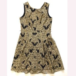 Sleeveless midi dress lace black and gold size 16